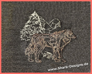 Embroidery Design Wolf-2 in...