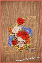Stickdatei Blumen-Skulls in...