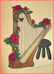 Stickdatei Harfe in 9 Größen