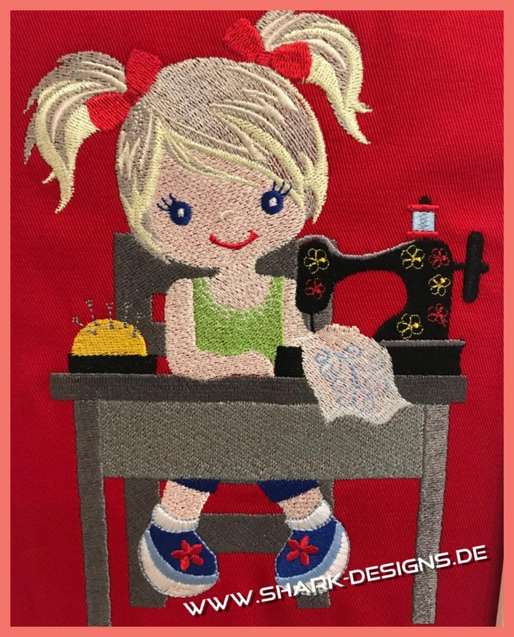 Sewing Girl, in 6 busy sizes