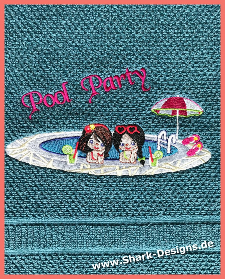 Embroidery file Pool Party...