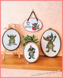 Garden Goblins, four small,...