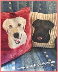 A Labrador, with 3 faces in...