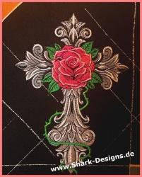 Cross Rose Stickdatei in 5...